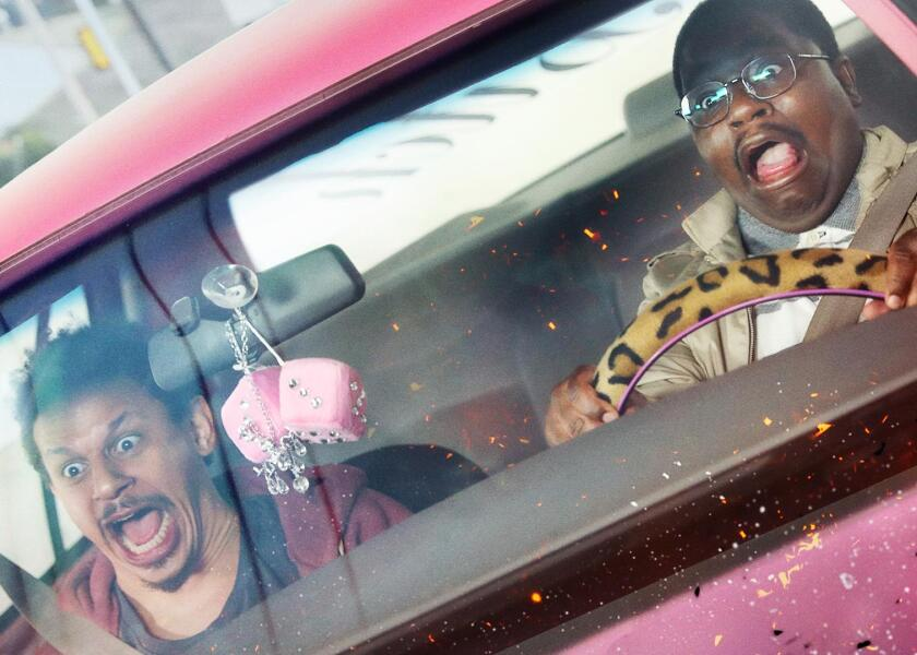 "Eric Andre and Lil Rel Howery star in Orion Pictures' ""Bad Trip."""