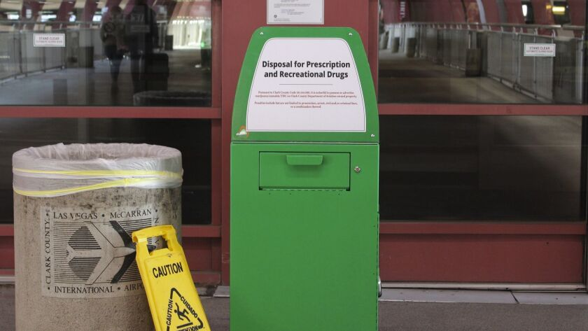 Green metal boxes have been set up at McCarran International Airport in Las Vegas so passengers can dispose of marijuana and other illicit substances. A Los Angeles City Council member wants similar bins set up at Los Angeles International Airport.
