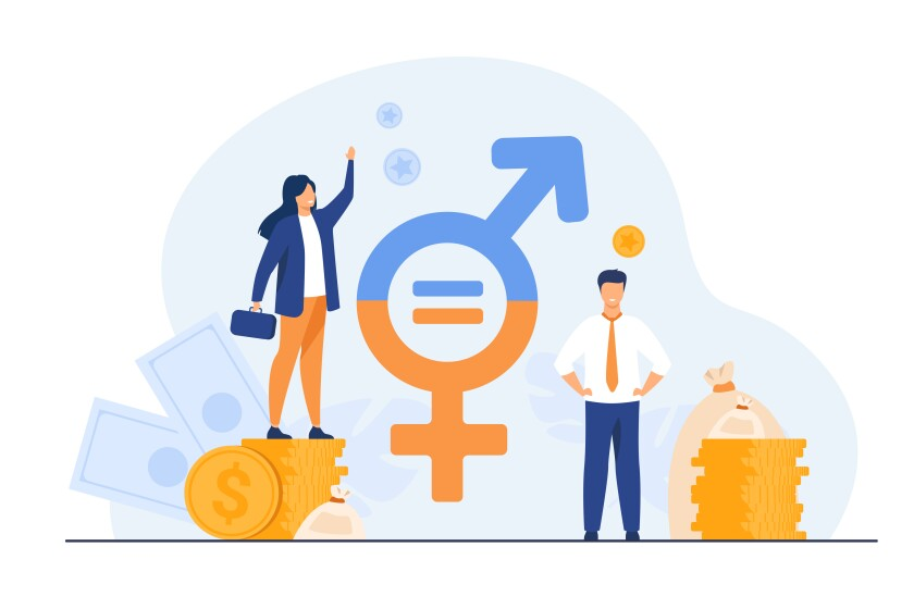 Gender wage equality in business isolated flat vector illustration