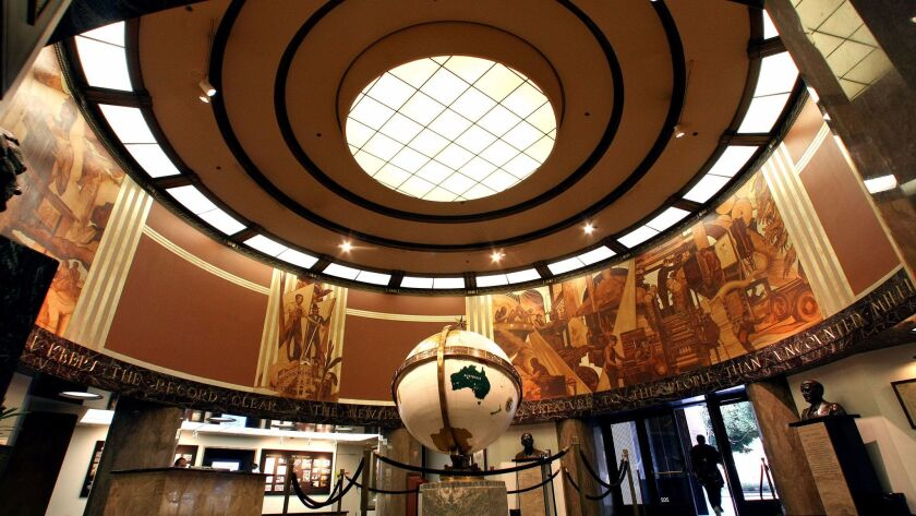 LOS ANGELES, CA-NOVEMBER 16, 2012: Overall, shows the globe lobby inside the Los Angeles Times in