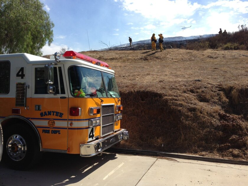Helicopters and firefighters around East County helped douse an 18-acre blaze that threatened Lakeside homes Thursday afternoon.