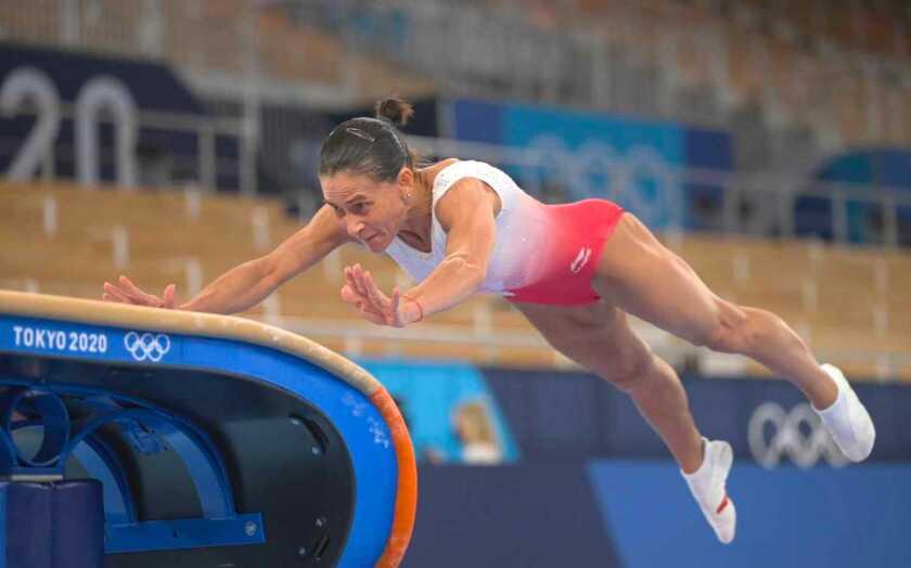 La gimnasta uzbeka Oksana Chusovitina
