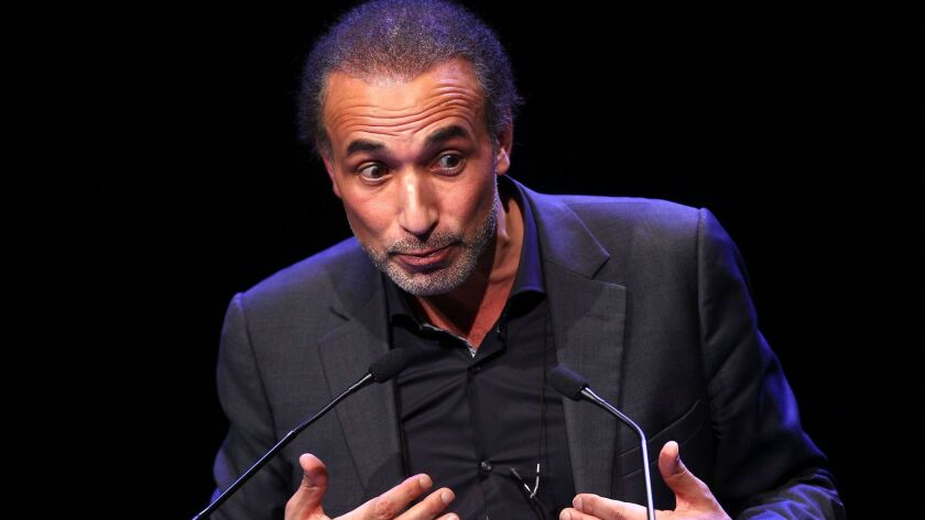 Muslim scholar Tariq Ramadan delivers a speech during a French Muslim organizations' meeting on Feb. 7, 2016, in Lille, northern France.