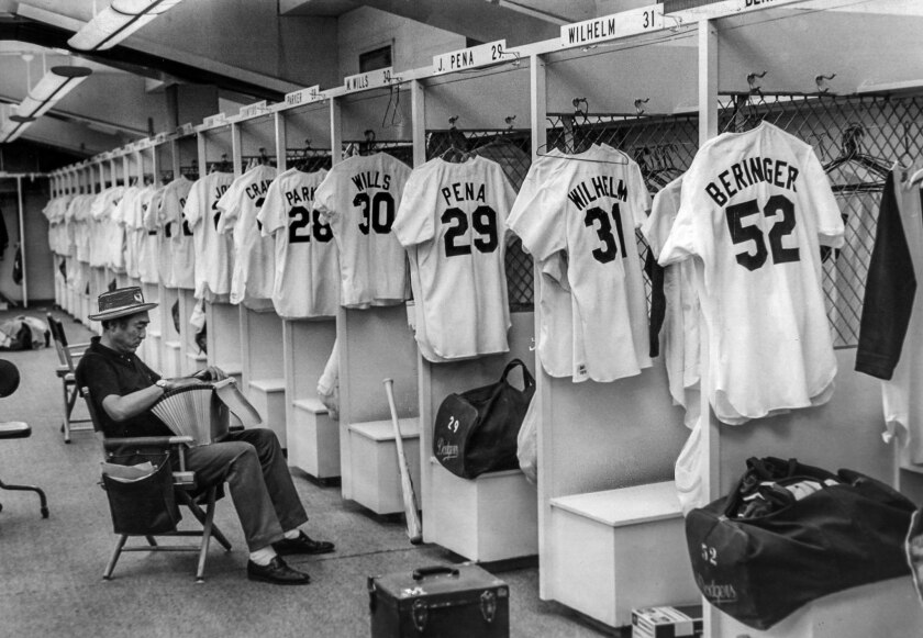 April 2, 1972: Dodger equipment manager Nobe Kawano has everything ready in Los Angeles clubhouse fo