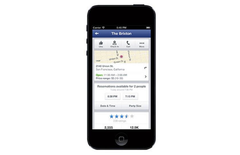 Facebook Opentable Partner For Restaurant Reservation