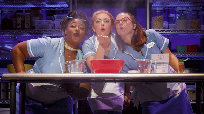"Charity Angel Dawson, Desi Oakley and Lenne Klingaman (from left) in the national touring production of ""Waitress."""