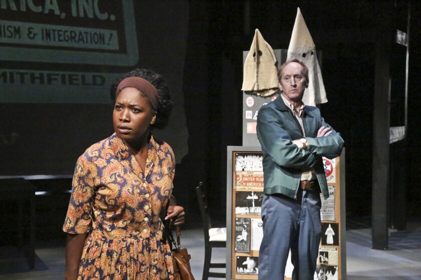 """Tiffany Rebecca Royale and Larry Cedar star in """"The Best of Enemies"""" at the Colony Theatre in Burbank."""