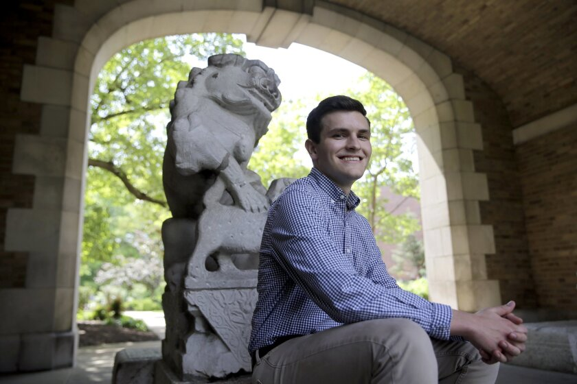 In this May 11, 2016, photo, Jeremy Wiggins poses for a photo in Columbia, Mo. Wiggins, a 20-year-old business administration major at the University of Missouri-Columbia, is a supporter of Donald Trump and has been elected to be a delegate from Missouri to the Republican National Convention where