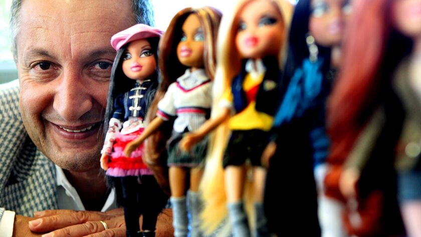 """""""The toy business is dependent on the Chinese, and I don't see that changing,"""" said Isaac Larian, CEO of MGA Entertainment. Above, Larian in 2010 with a line of Bratz dolls."""