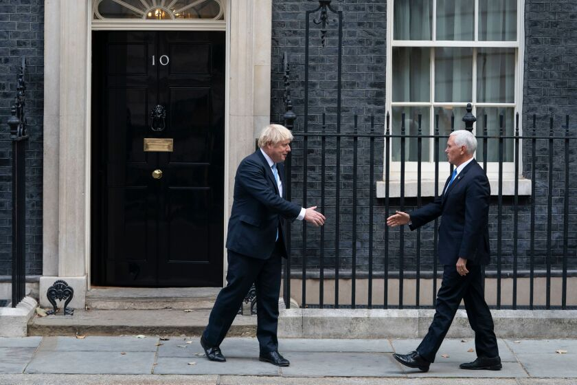 British prime minister meets U.S. Vice President Mike Pence