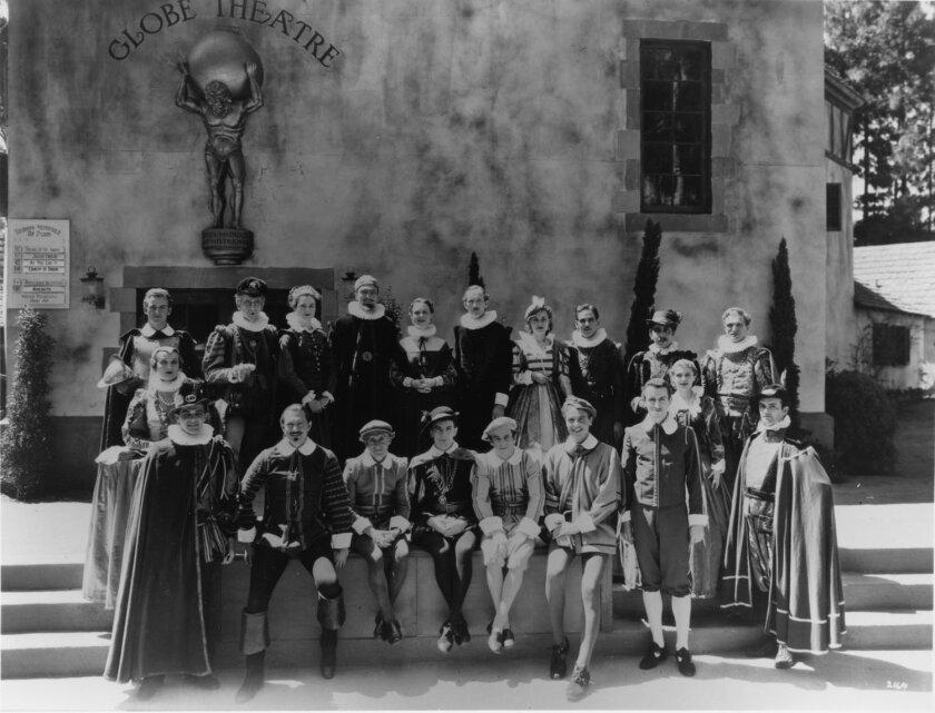The original company of the Old Globe Theatre in the 1930s.