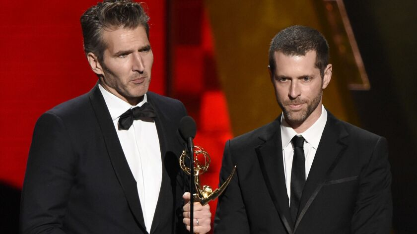 "David Benioff, left, and D.B. Weiss will write and produce the next ""Star Wars"" films."