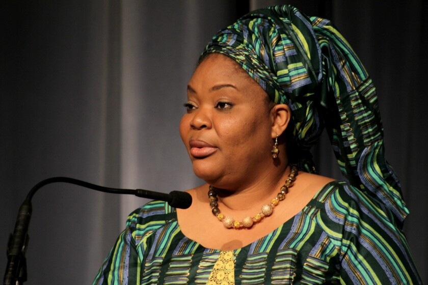 """Nobel Peace Laureate Leymah Gbowee speaks about """"The Role of Women at the Front Lines of Peace Building"""" during a Visionary Women salon at the Beverly Wilshire on Tuesday."""