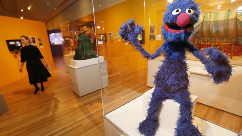 LOS ANGELES, CA – May 29, 2018: The Grover puppet, early 1970's on exhibit at The Skirball Cultura