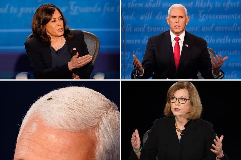 Collage of Kamala Harris, Mike Pence and debate moderator Susan Page