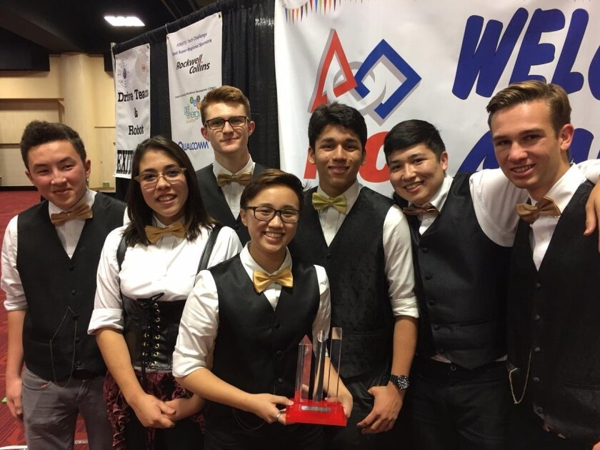 Max Sun, Anna Azeka, Owen Gallahue, Isabelle Ho, Erik Holm, Alex Azeka, Macky Broido with the PTC Design Award that qualifies them to the World Championships.
