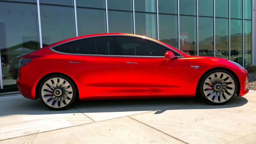 SPARKS, NEV. - TUES. JULY 26, 2016 - Tesla Model 3 mockup at the Tesla Gigafactory under constructio