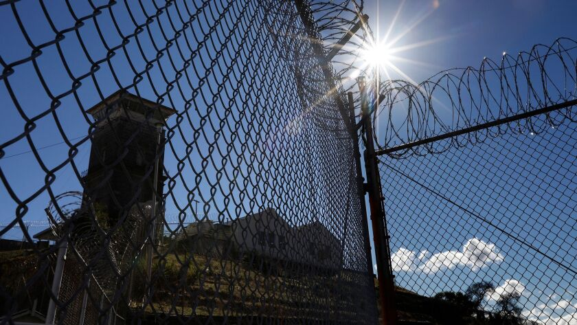FOLSOM, CA - NOVEMBER 17, 2017 -- A guard tower hovers over Folsom Prison in Folsom, California on N