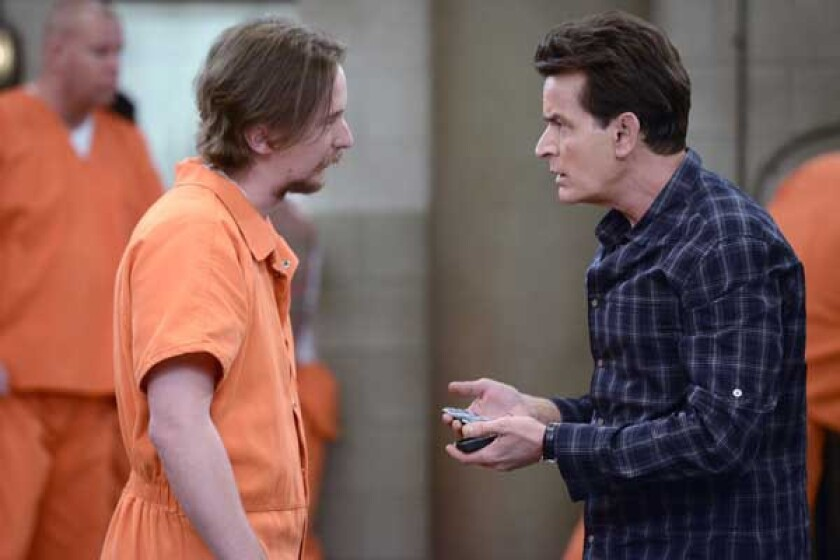 "Stephen Monroe Taylor, left, and Charlie Sheen in ""Anger Management"" on FX"