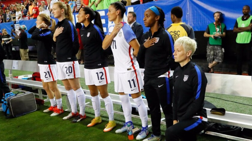 Megan Rapinoe kneels during the national anthem prior to the match between the United States and the Netherlands at the Georgia Dome on Sept. 18.