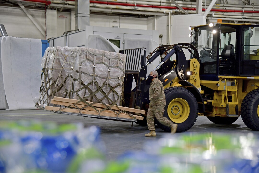 California Air National Guard prepares shipment of ventilators