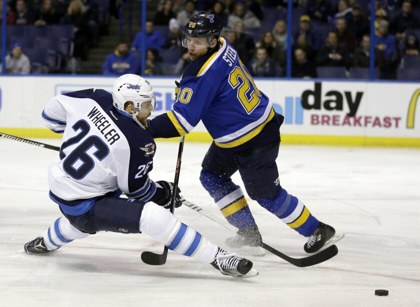Winnipeg Jets' Blake Wheeler, left, falls as he reaches for a loose puck as St. Louis Blues' Alexander Steen defends during the first period of an NHL hockey game Tuesday, Feb. 9, 2016, in St. Louis. (AP Photo/Jeff Roberson)