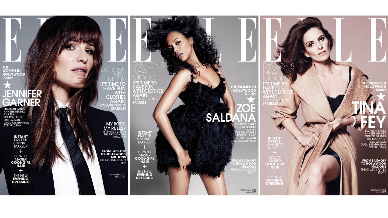 Jennifer Garner, Zoe Saldana and Tina Fey are the three cover stars of Elle magazine's November 2014 Women in Hollywood issue.