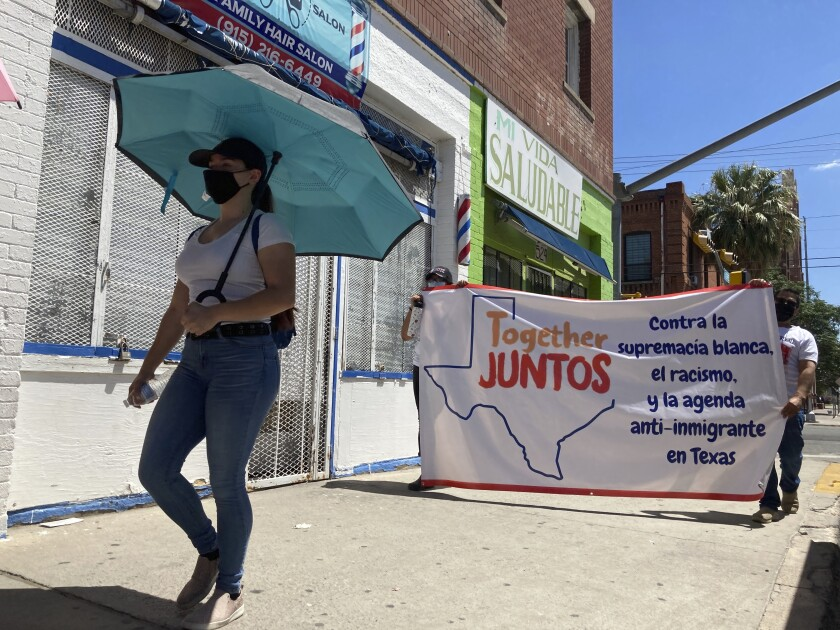 A street march in support of immigrant rights in El Paso, amid lingering concerns about gun violence.