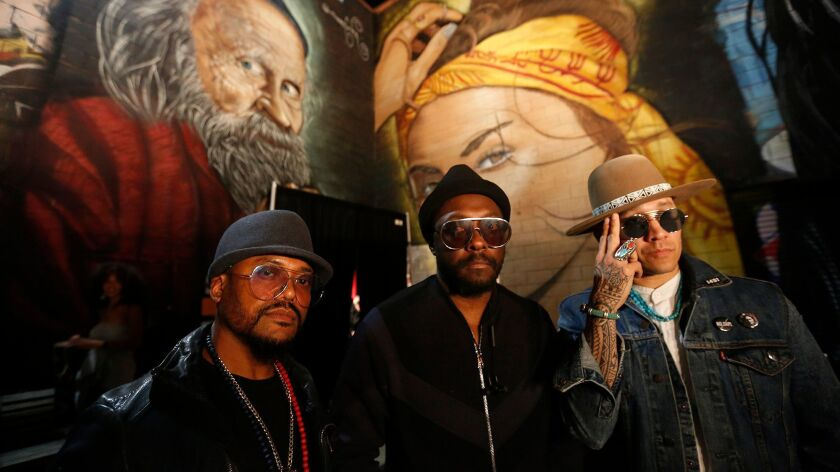 Apl.de.ap, from left, will.i.am and Taboo, of the Black Eyed Peas, are back with a new politically focused sound.