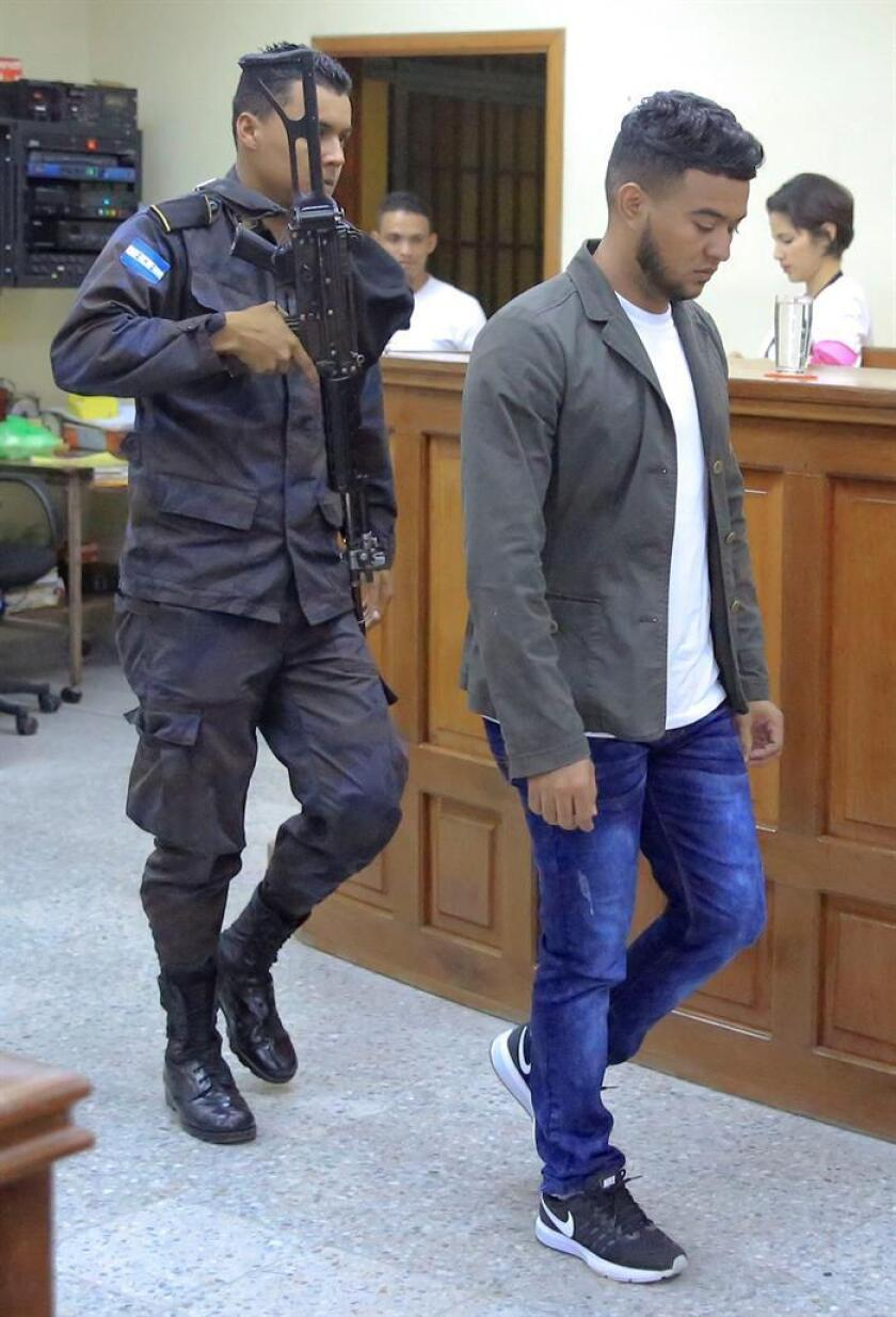 Henry Javier Hernandez Rodriguez, one of the eight men charged with killing environmentalist Berta Caceres in 2016, enters a Tegucigalpa courtroom on Nov. 29, 2018, shortly before being convicted of the murder. EFE-EPA/Gustavo Amador