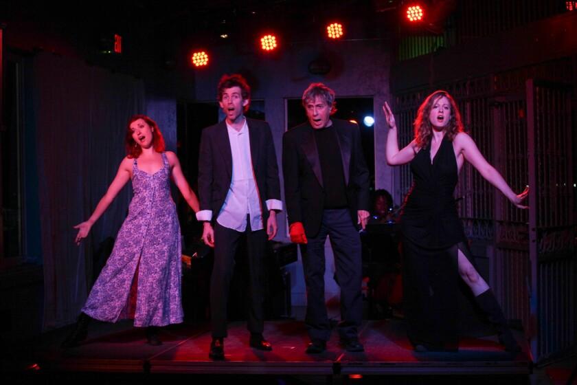 "Megan Rippey, left, Sol Mason, Paul Sand and Shay Astar in ""Kurt Weill at the Cuttlefish Hotel."""