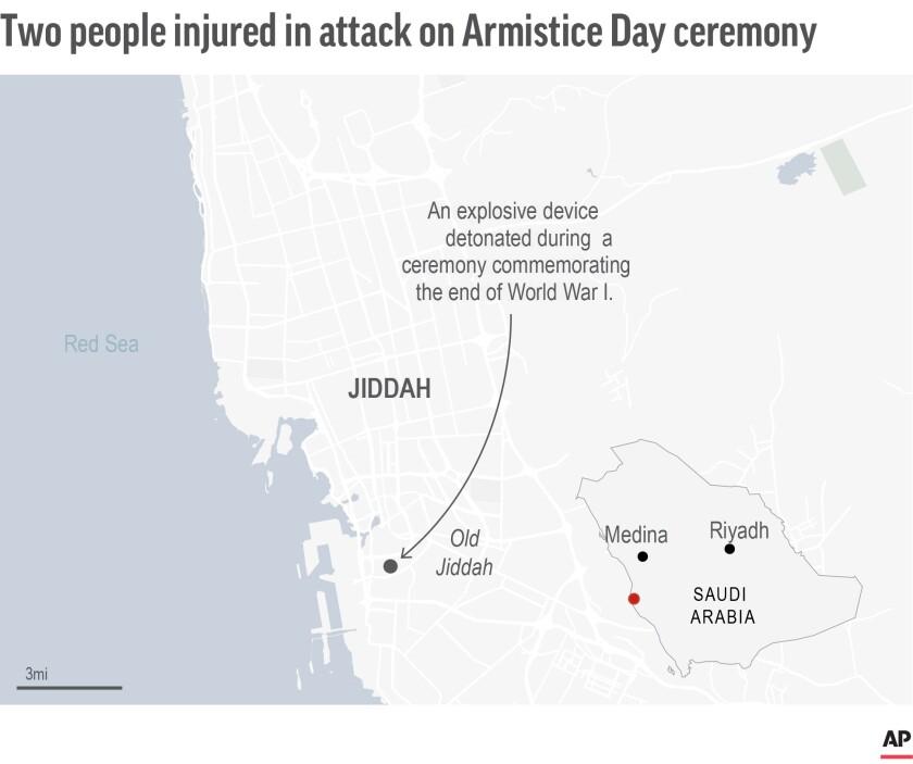 Map locates attack in Jiddah, Saudi Arabia