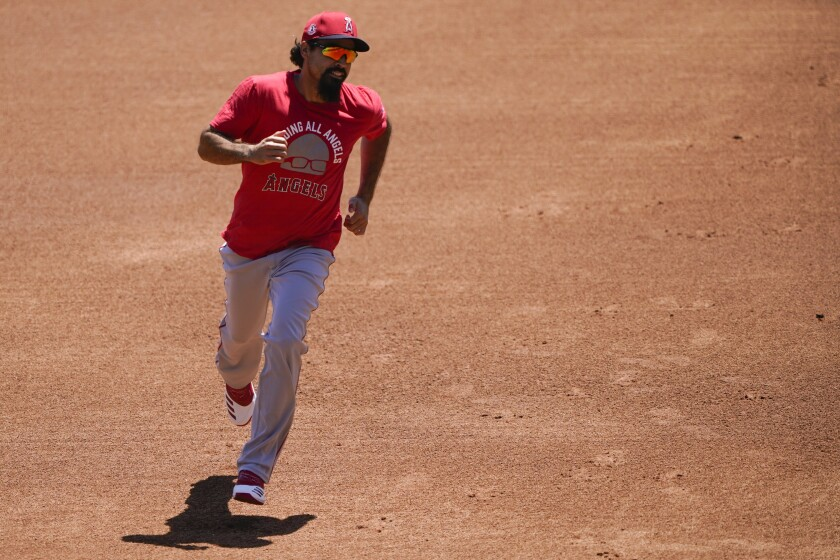 Angels' Anthony Rendon runs the bases during practice at Angel Stadium on July 3.