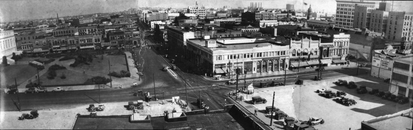Circa 1930 panorama of corner of First and Spring streets, taken from the old Los Angeles Times building.