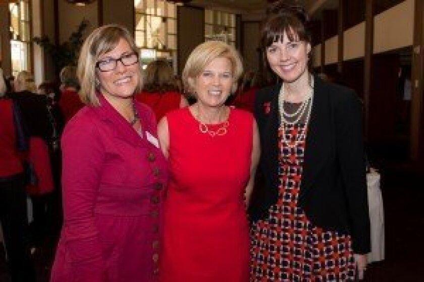Maria Olson, American Heart Association San Diego division executive director (left); Trisha Khaleghi, AHA 'Go Red for Women' chair; Kathy Rogers, AHA Western states affiliate executive vice president