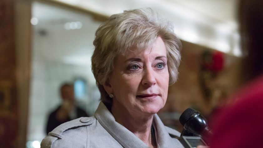 Linda McMahon, shown in November, will testify at her confirmation hearing Tuesday about her suitability to the head the Small Business Administration.