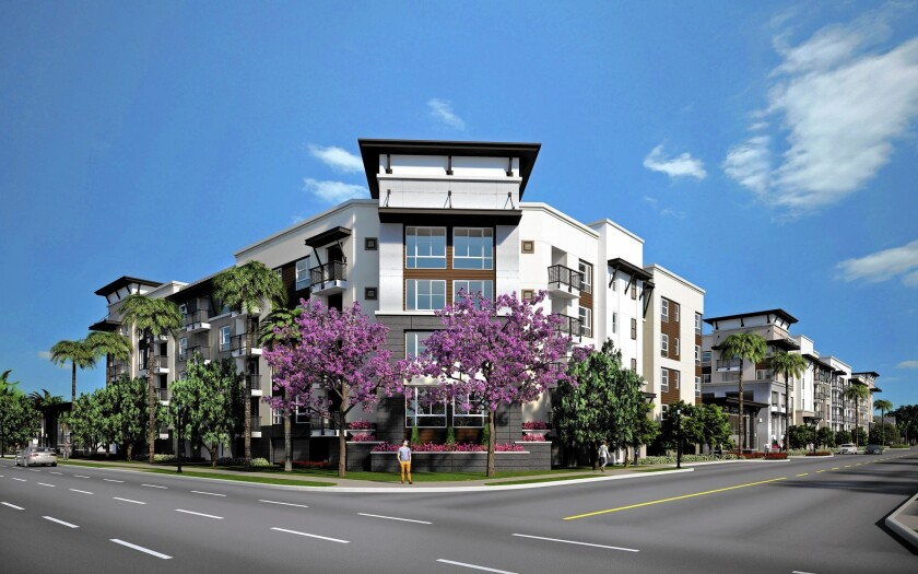 Developer JPI is building a $119-million, 400-unit luxury apartment complex, named Jefferson Platinum Triangle, near Angel Stadium in Anaheim. Above, a rendering of the project.