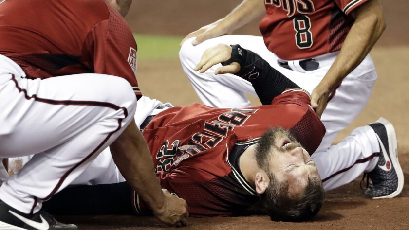 Arizona's Steven Souza Jr. was while scoring during an exhibition game against the Chicago White Sox on March 25.