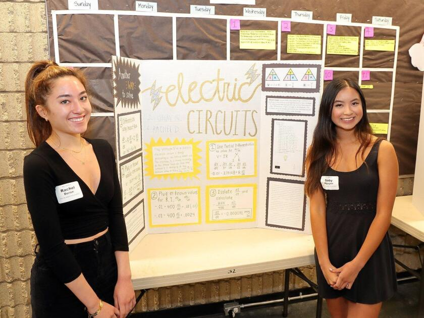 """Rachel Doron and Gaby Nguyen with their project """"Electric Circuits"""""""