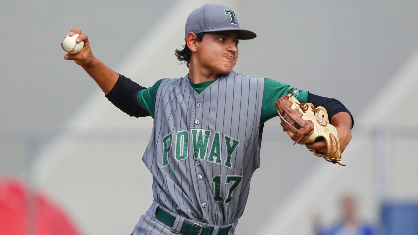 Poway pitcher Ivran Romero (shown in an earlier game) walked two, struck out six and didn't allow a hard-hit ball until the seventh inning.