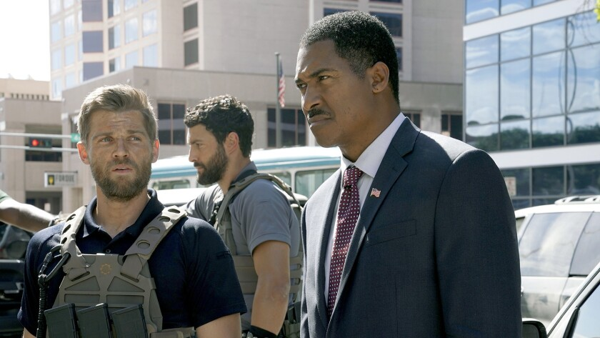 """Mike Vogel, left, Noah Mills and Ben Cain in """"The Brave"""" on NBC."""