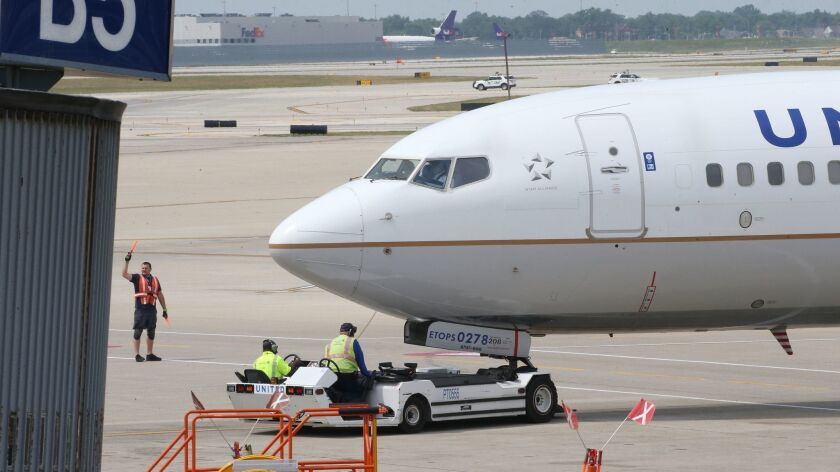 A United Airlines jet at O'Hare International Airport on July 12.