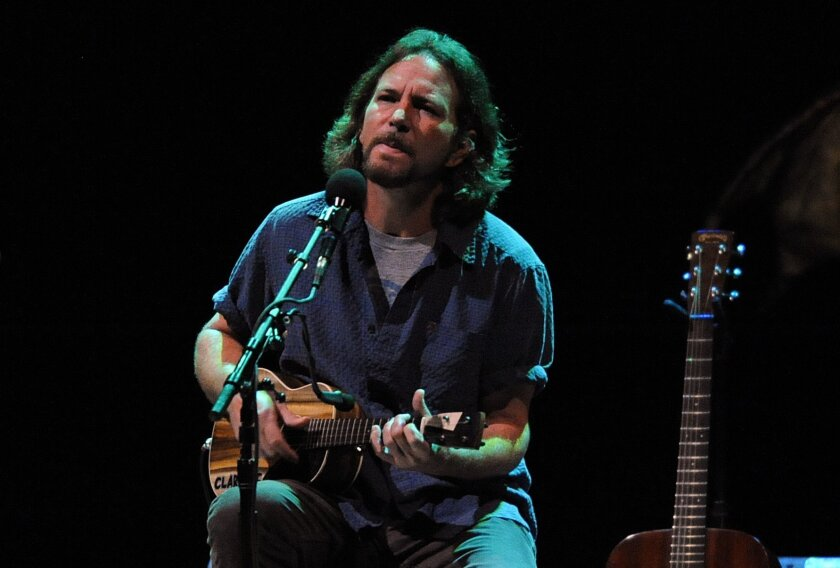 "Eddie Vedder, shown performing at Copley Symphony Hall in July, earned a Grammy Award nomination for his solo album, ""Ukulele Songs."""