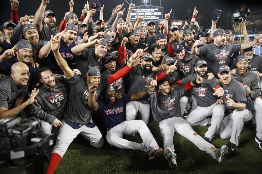 Boston Red Sox players celebrate after defeating the Los Angeles Dodgers in game five of the World Series at Dodger Stadium in Los Angeles, California, USA, 28 October 2018. The Red Sox win the series 4-1 to become the World Champions of Major League Baseball.