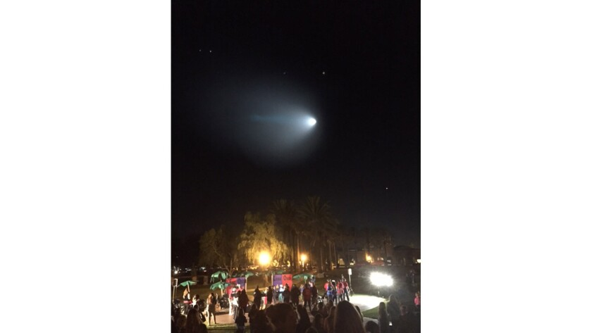 The missile test as seen from Central Park in Rancho Santa Margarita during a Girl Scout sing-along.