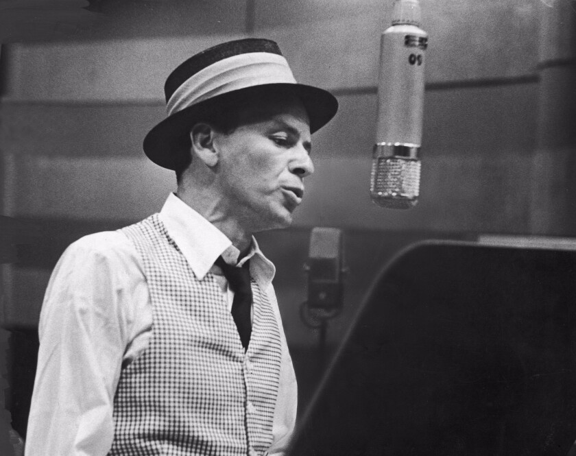 American singer and actor Frank Sinatra (1915-1998) during a 1953 recording session at Capitol Records in Hollywood.