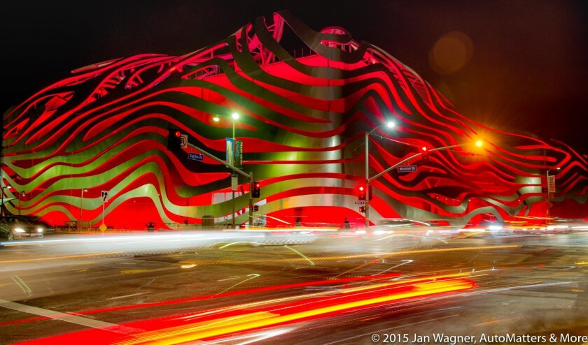 Dramatic exterior architecture of the Petersen Automotive Museum