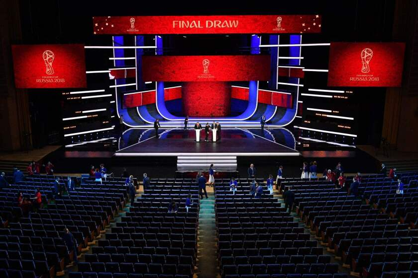 A picture shows the stage prior to the final draw for 2018 FIFA World Cup football tournament at the State Kremlin Palace in Moscow, on December 1, 2017. The 2018 FIFA World Cup will be held from June 14 and July 15, 2018, in 11 Russian cities.