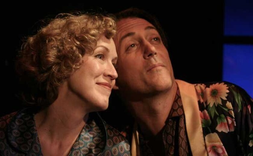 """""""Private Lives"""" at the Cygnet Theatre, Shana Wride, Sean Murray."""