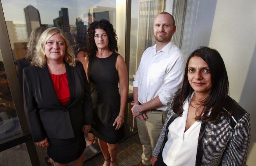Attorneys Amber Eck, Helen Zeldes, Aaron Olsen and Alreen Haeggquist, of the law firm Zeldes Haeggquist & Eck, at their downtown San Diego offices.